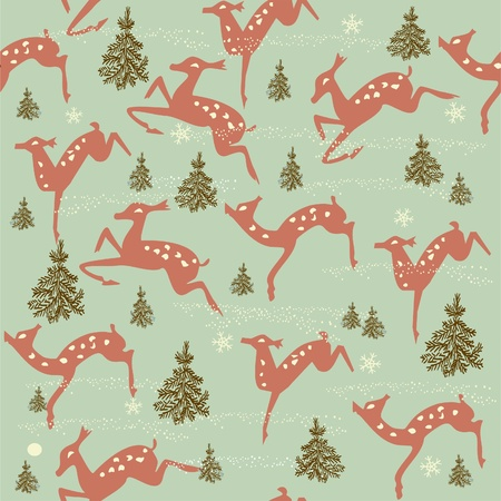 winter seamless pattern with animals  Vector