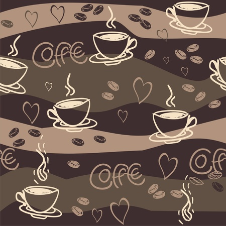 seamless background with cups and teapots  Vector