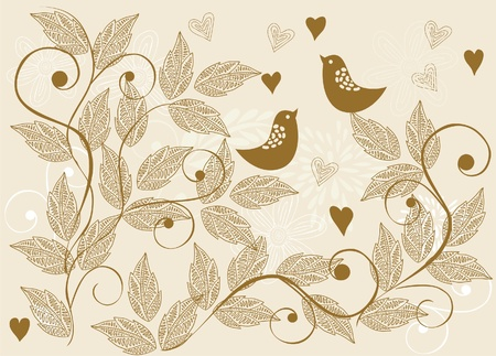 retro floral background with birds