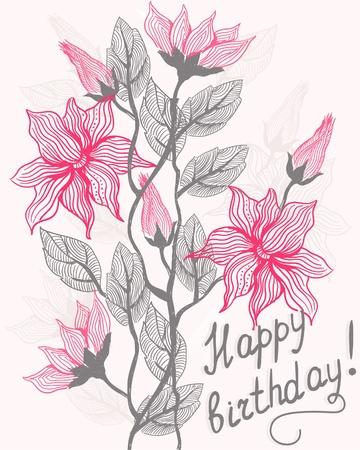 Floral card happy birthday Vector