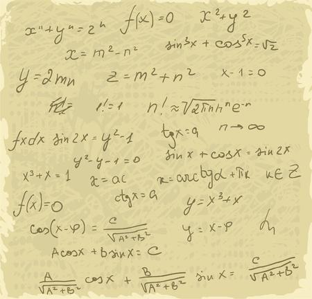 simbolos matematicos: Fórmulas matemáticas en el papel viejo
