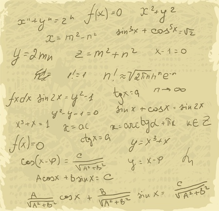 Formulas maths  on old paper Vector