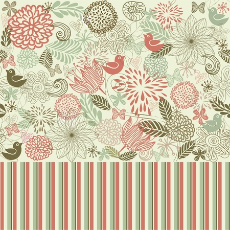 retro illustration: retro floral seamless background