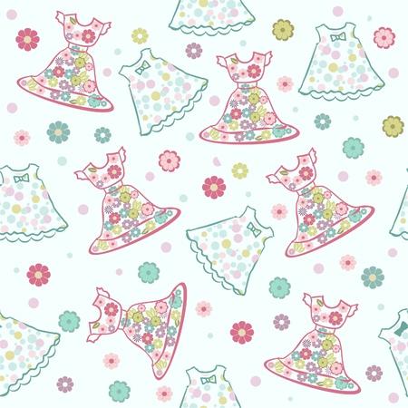 seamless background Baby Girl Dress  Ilustracja