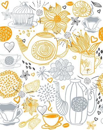 tarde de cafe: de fondo sin fisuras florales con las tazas y teteras