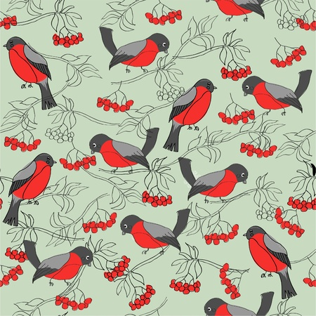 eberesche: Winter-Muster mit Gimpel und Vogelbeere