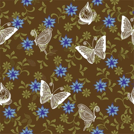 seamless retro floral background with butterflies  Vector