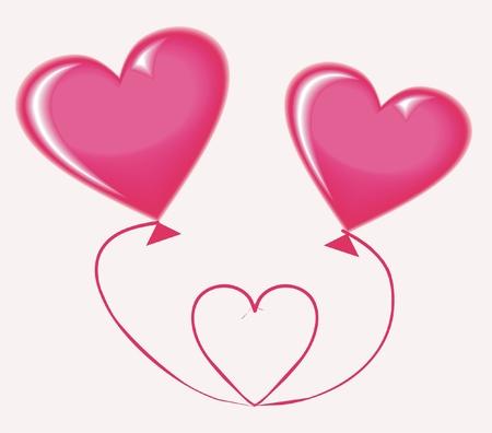 pink balloons: heart balloon  Illustration