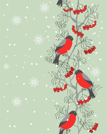 bullfinch: vertical seamless winter pattern with bullfinches and rowan