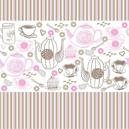 premise: seamless floral background with cups and teapots  Illustration