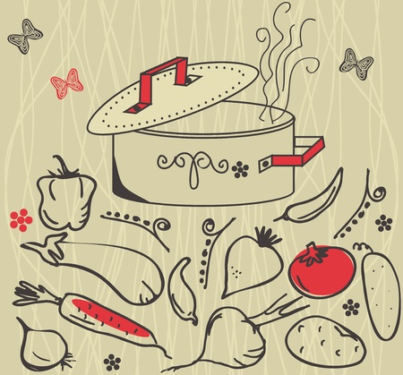 cooking: getable ingredients and soup pot