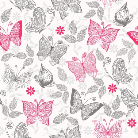 seamlessly: seamless floral background with butterflies