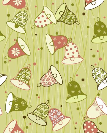 jingle bell: seamless background with bells  Illustration