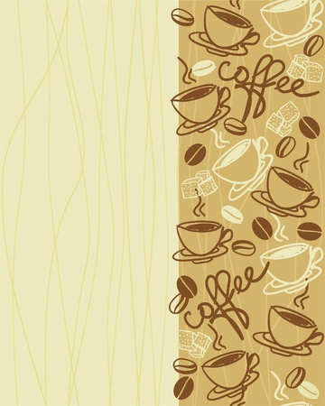 coffee and beans: vertical seamless vector pattern with cup of coffee Illustration