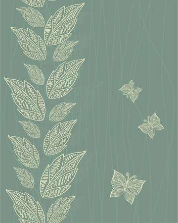 seamless vertical pattern with leaves and butterflies