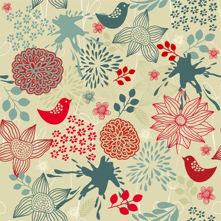 retro floral seamless background with birds Vettoriali