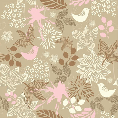 retro floral seamless background with birds Illustration