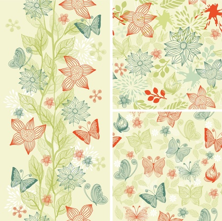 seamless flower background set  Vector
