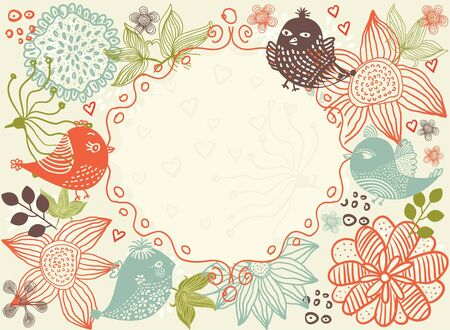 wallpaper doodle: floral background with frame