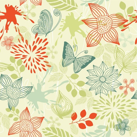 red floral: retro floral background with butterflies  Illustration