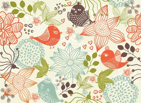 retro floral seamless background Stock Vector - 11598719