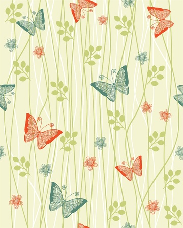 retro floral background with butterflies  Illusztráció