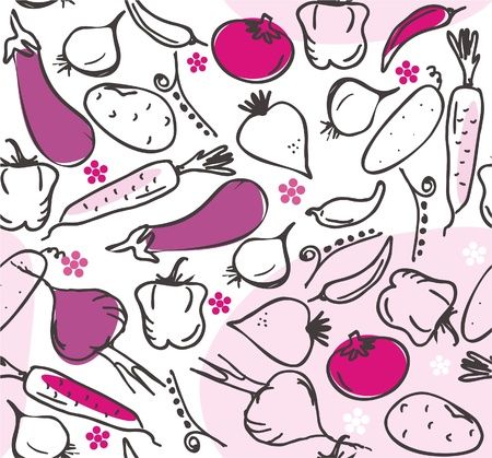 black and white image: seamless pattern with vegetables