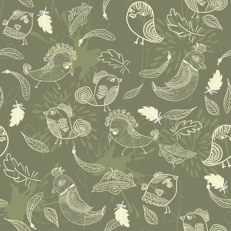 Seamless pattern with feathers and birds  Vector