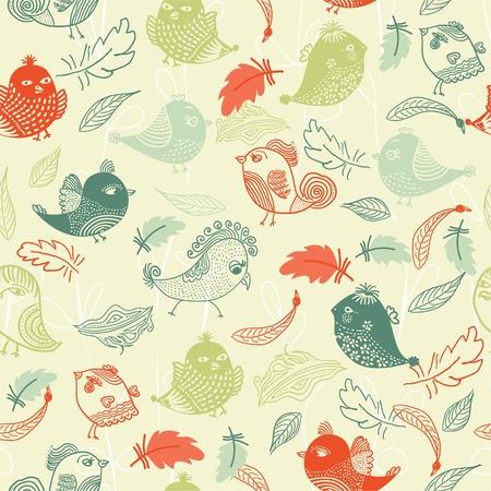 endlos: Nahtlose Muster mit bunten Federn und Vögeln