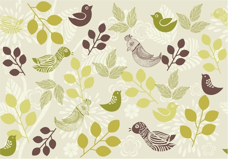 retro floral background with birds  Vector