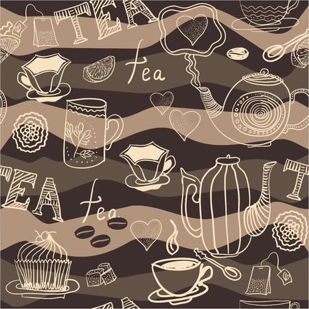 english tea: seamless background with cups and teapots
