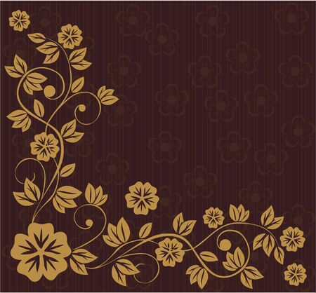 brown swirl: floral frame in wooden color in russian traditional style  Illustration
