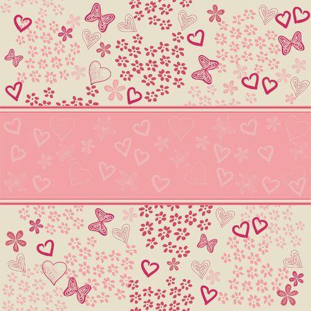 papillon rose: seamless floral avec des coeurs Illustration