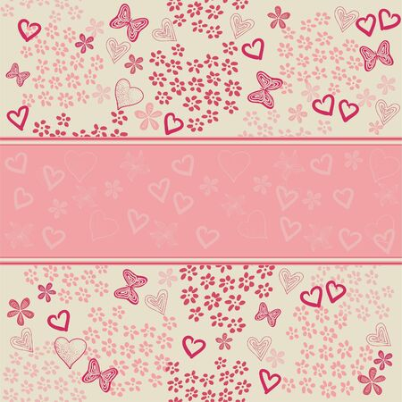 pink butterfly: seamless floral pattern with hearts