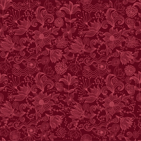 burgundy background: Seamless vector texture with flowers