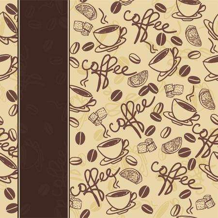 coffee beans: naadloze patroon met een kopje koffie