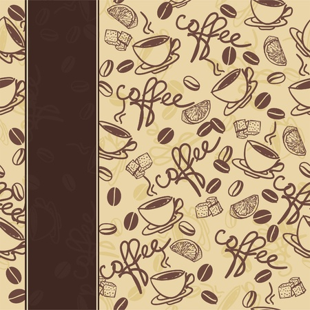 coffee beans: seamless pattern with cup of coffee  Illustration