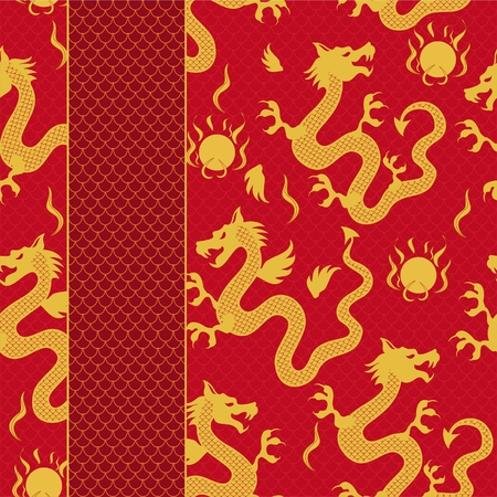 dragon calligraphy: seamless pattern of the dragon