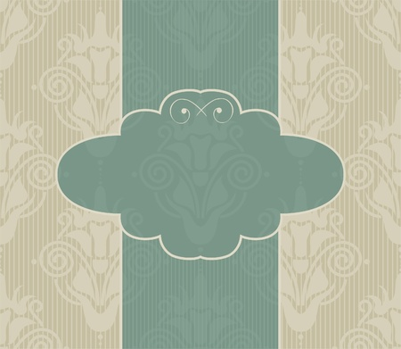 seamless damask background with banner  Vector