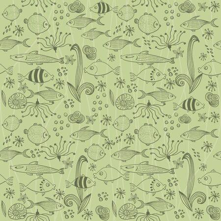 Vector seamless background with fish  Vector