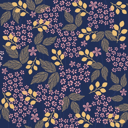 textile image: The pink flower and yellow leafs on dark blue background