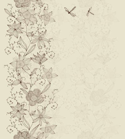 vertical seamless floral pattern Vector