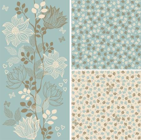 set seamless floral patterns Vettoriali