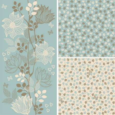 nature pattern: set seamless floral patterns Illustration