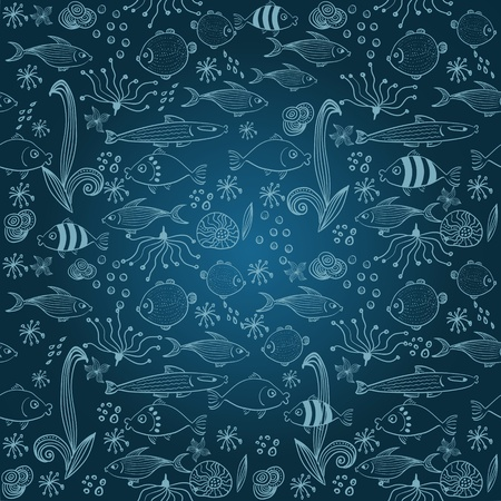 marine environment: Vector seamless background with fish Illustration