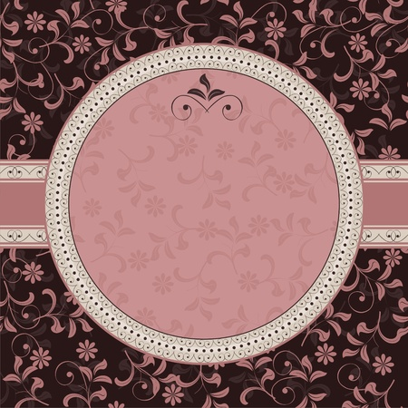 retro illustration: floral pattern with frame Illustration