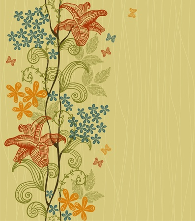 vertical seamless floral pattern Stock Vector - 12900337