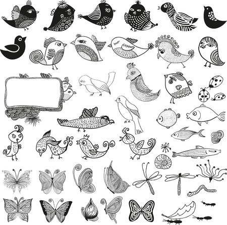 insect ant: Mixed set of birds fishes insects  doodle vector