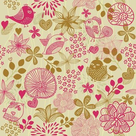 vintage bird: retro floral seamless background