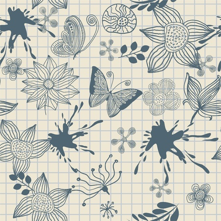floral drawing on school notebook Stock Vector - 13481795